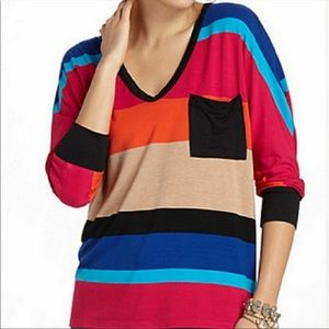 Anthropologie Bordeaux Color Block Stripe Top S